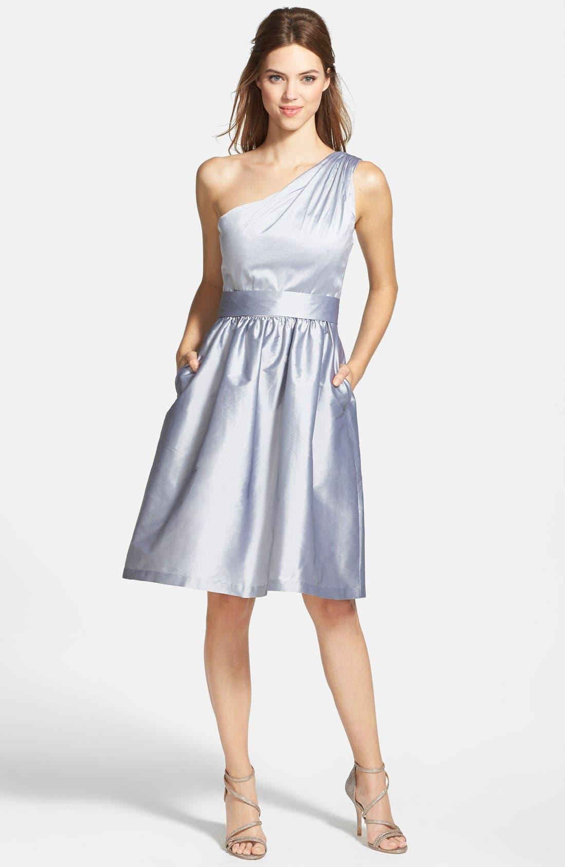 Alternate Image 3  - Alfred Sung One-Shoulder Satin Fit & Flare Dress