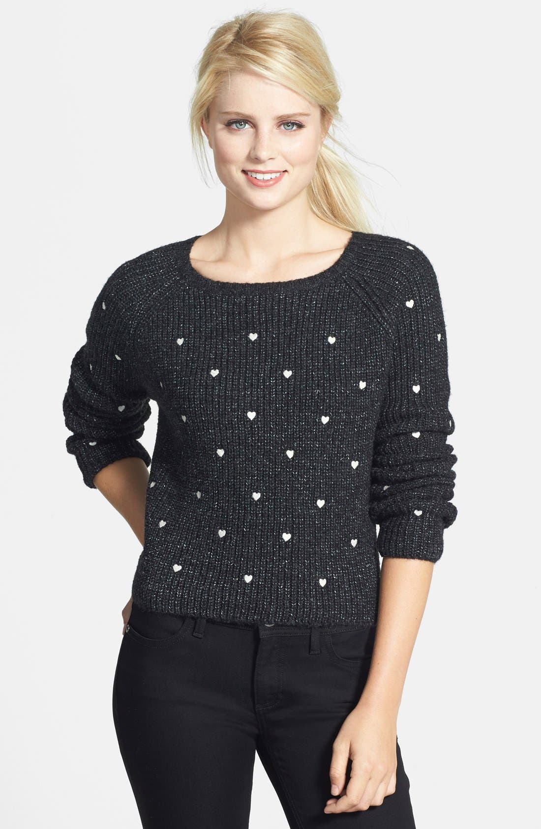Main Image - Press Embroidered Hearts Sweater