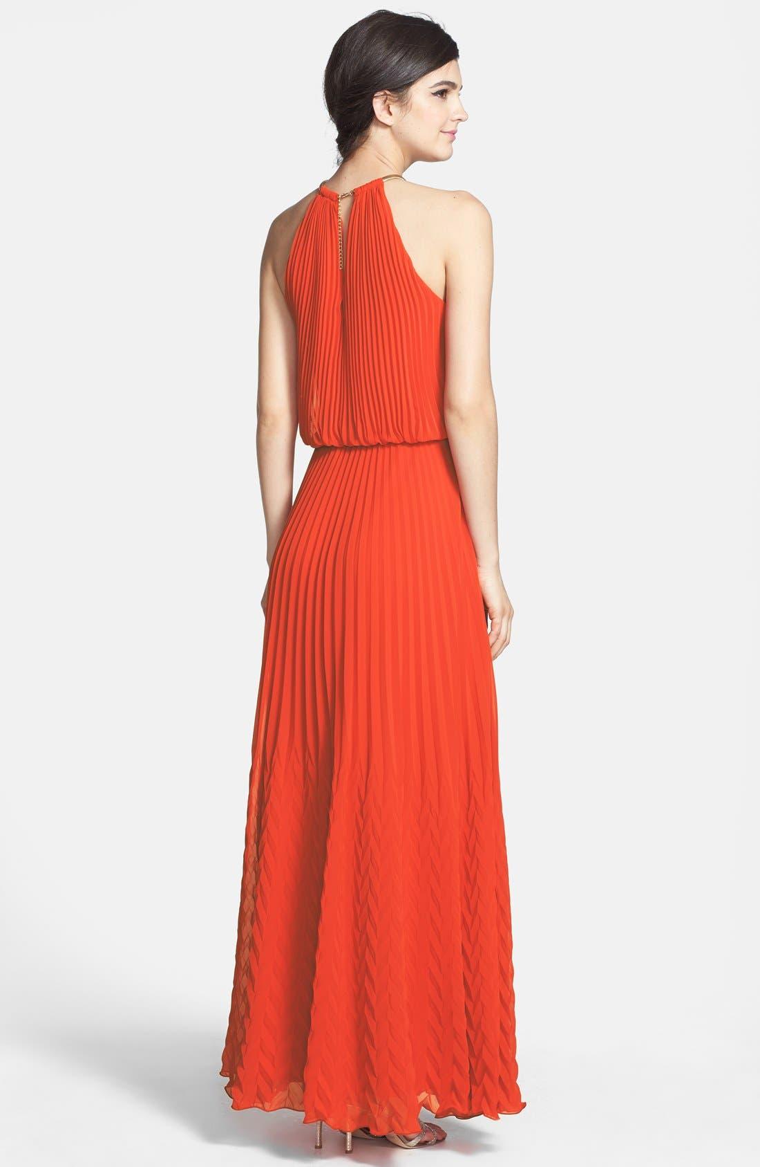 Alternate Image 2  - Xscape Pleated Chiffon Gown (Regular & Petite)