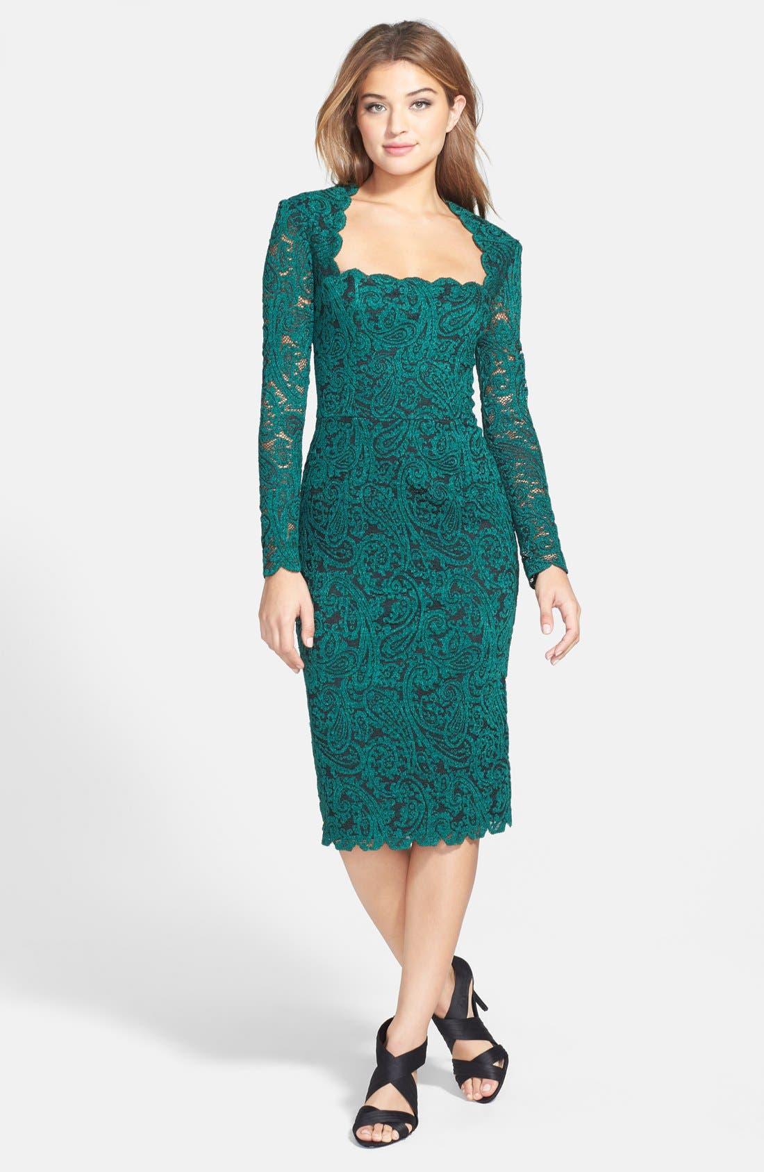 Main Image - Maggy London Square Neck Lace Sheath Dress