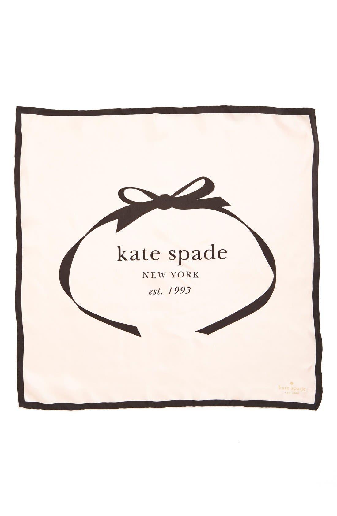 Main Image - kate spade new york bow logo small silk square scarf