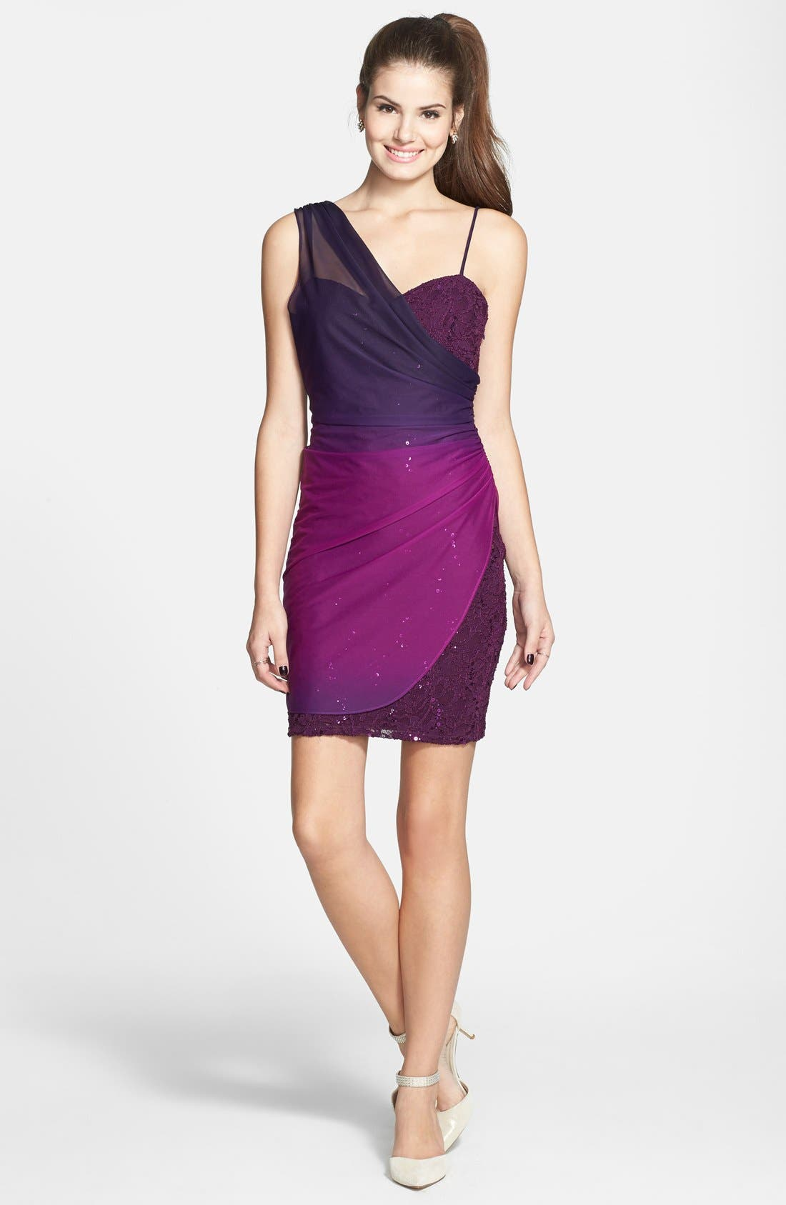 Alternate Image 3  - Jump Apparel Ombré Overlay Body-Con Dress (Juniors)