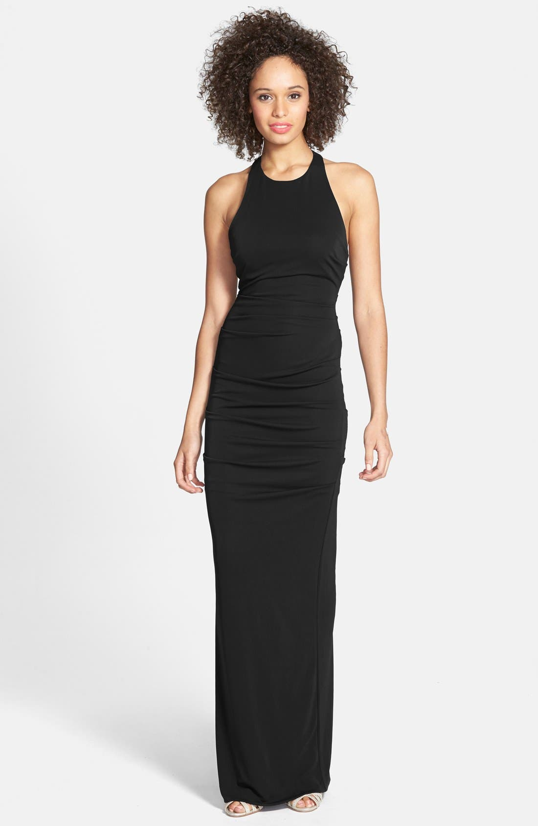 Main Image - Nicole Miller Ruched Cross Back Jersey Gown