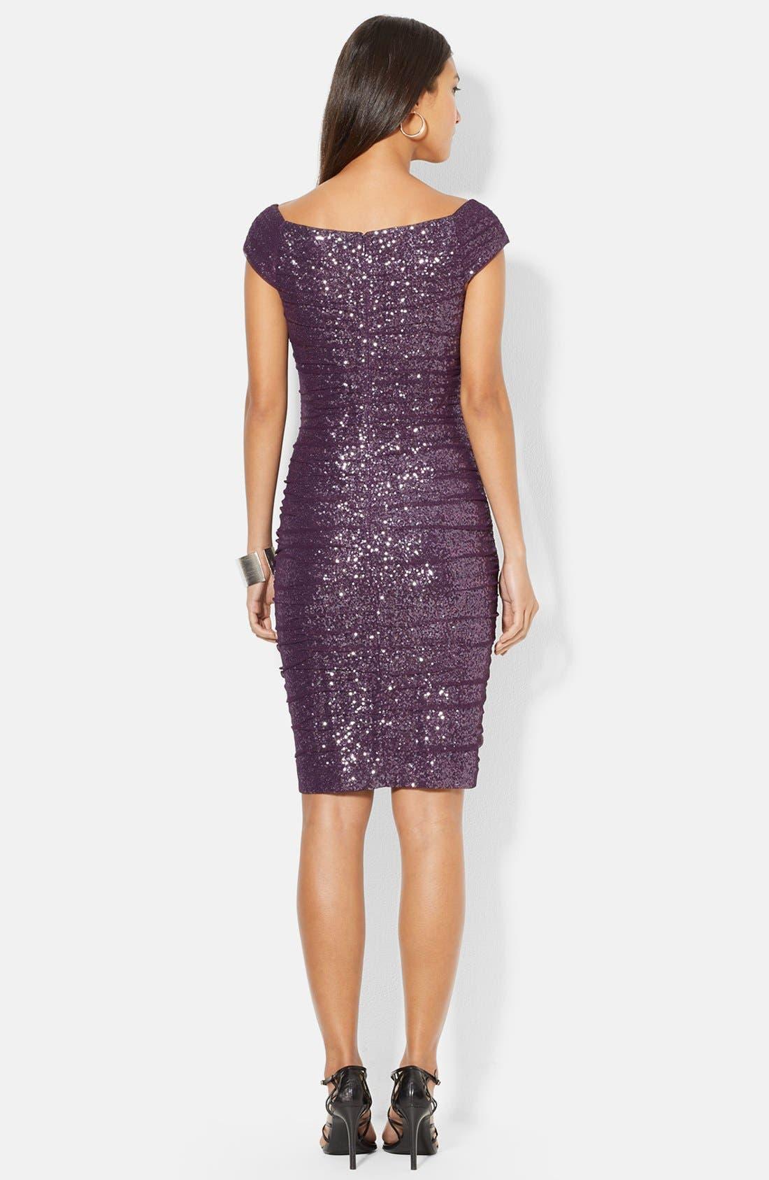 Alternate Image 2  - Lauren Ralph Lauren Sequin Mesh Shirred Sheath Dress