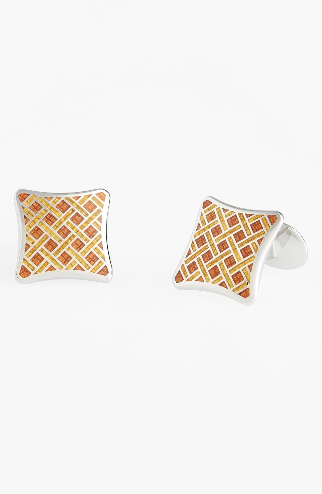 Enamel & Sterling Silver Cuff Links,                         Main,                         color, Silver/ Burnt Orange/ Gold