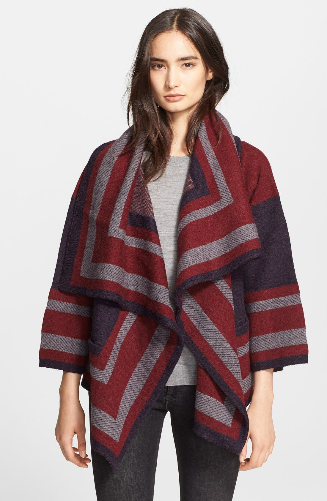 Wool Blend Blanket Wrap,                         Main,                         color, Military Navy