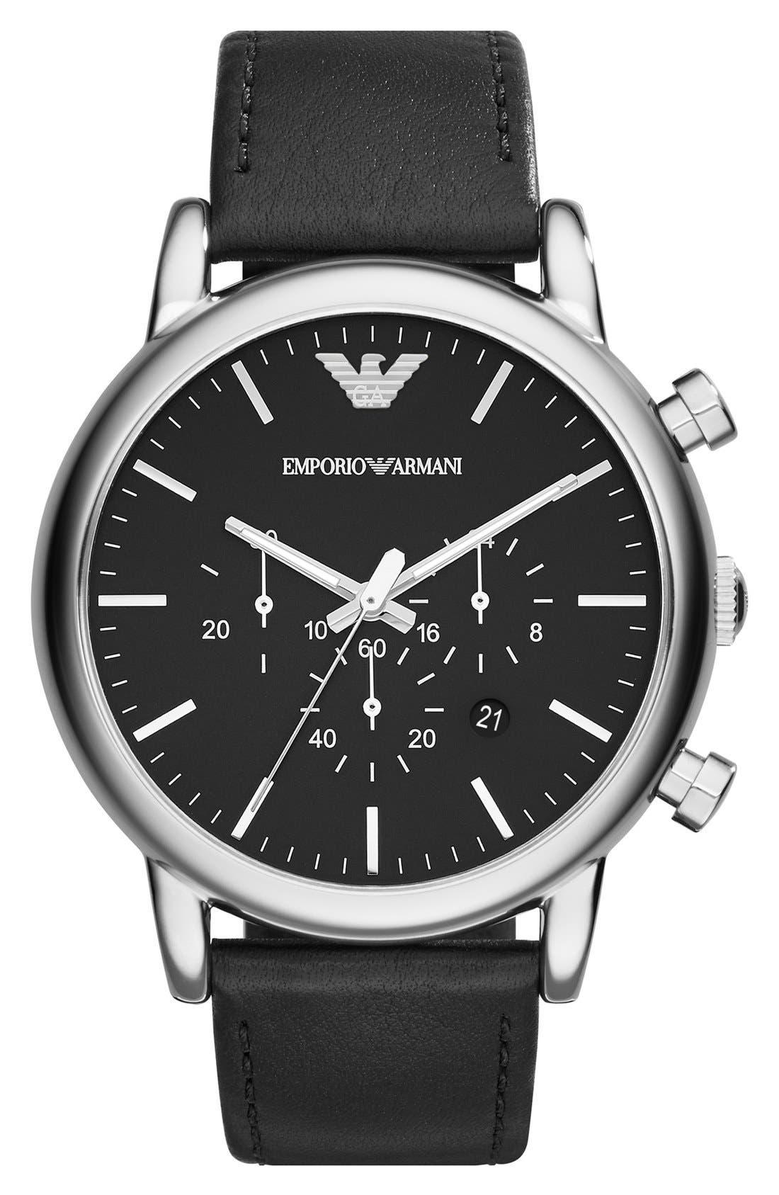 Chronograph Leather Strap Watch, 46mm,                         Main,                         color, Black/ Silver
