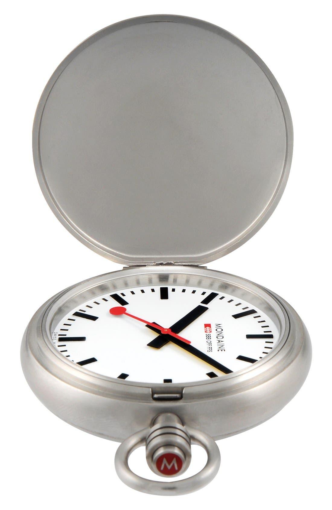 Alternate Image 1 Selected - Mondaine 'Savonnette II' Pocket Watch, 51mm