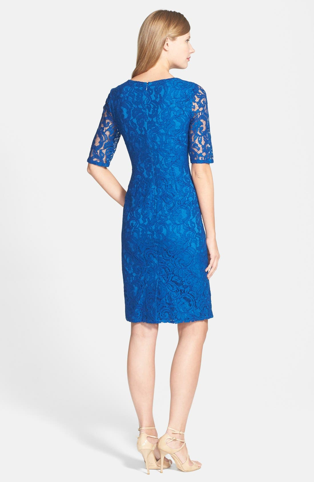 Alternate Image 2  - Adrianna Papell Pleat Neck Lace Sheath Dress