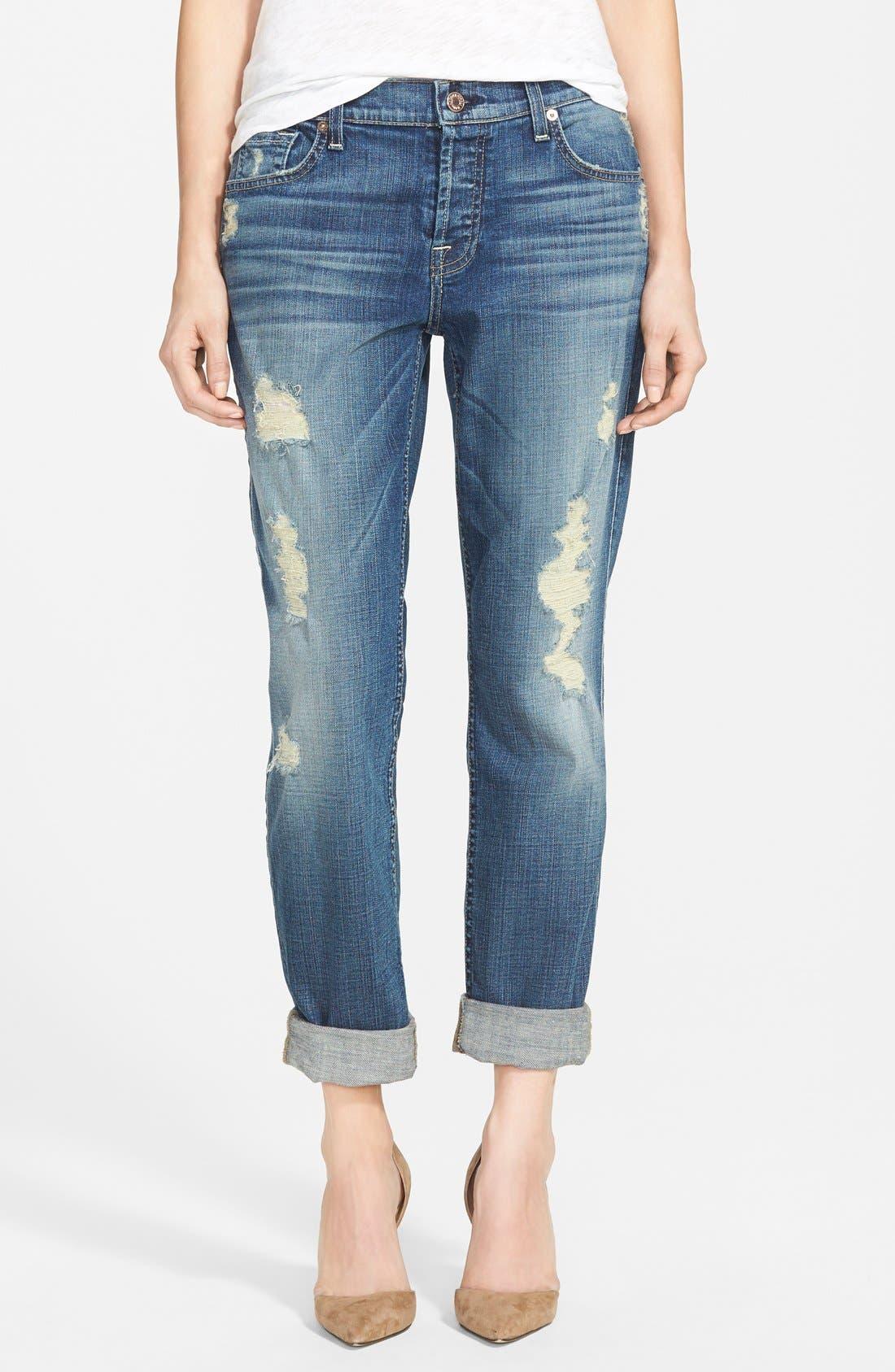 Main Image - 7 For All Mankind® 'Josefina' Boyfriend Jeans (Dusty Vintage Blue)