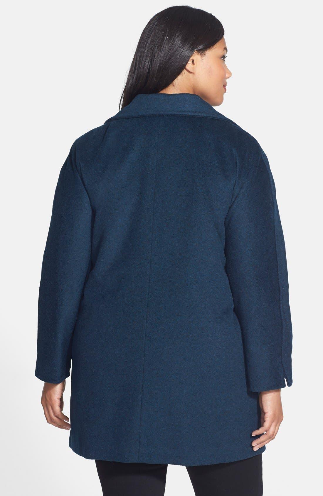 Alternate Image 2  - Ellen Tracy Fly Front Wool Blend Topper (Plus Size)