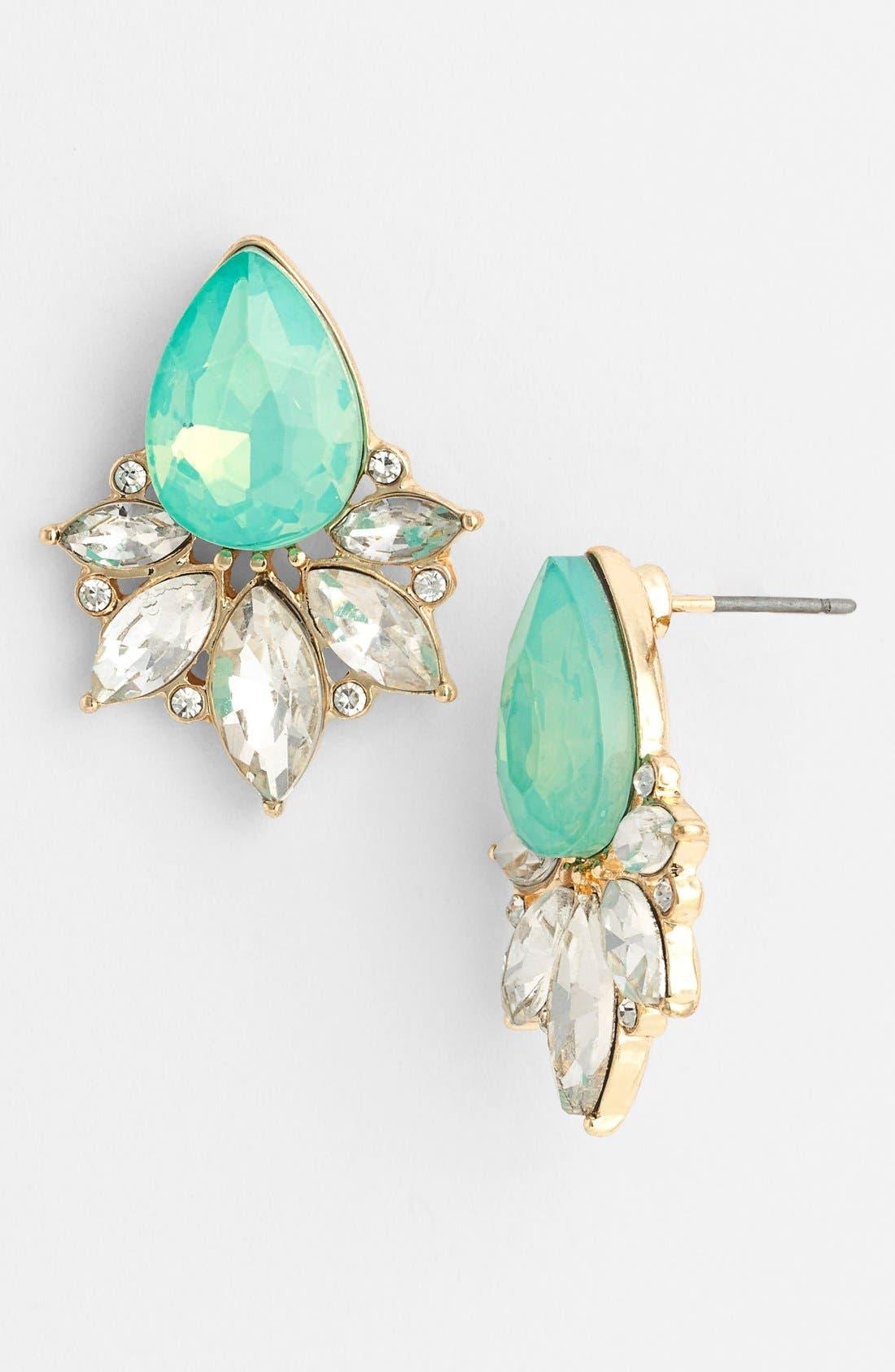 Teardrop Fan Stud Earrings,                         Main,                         color, Mint