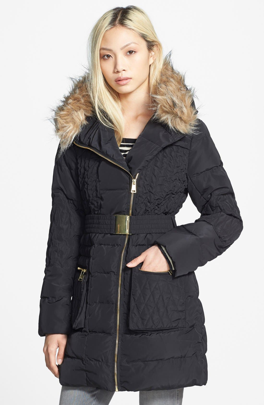Main Image - bebe Belted Quilted Parka with Removable Faux Fur Trim