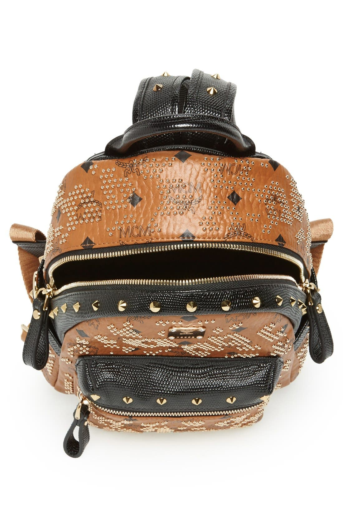 Alternate Image 3  - MCM 'Mini Visetos' Studded Logo Print Backpack
