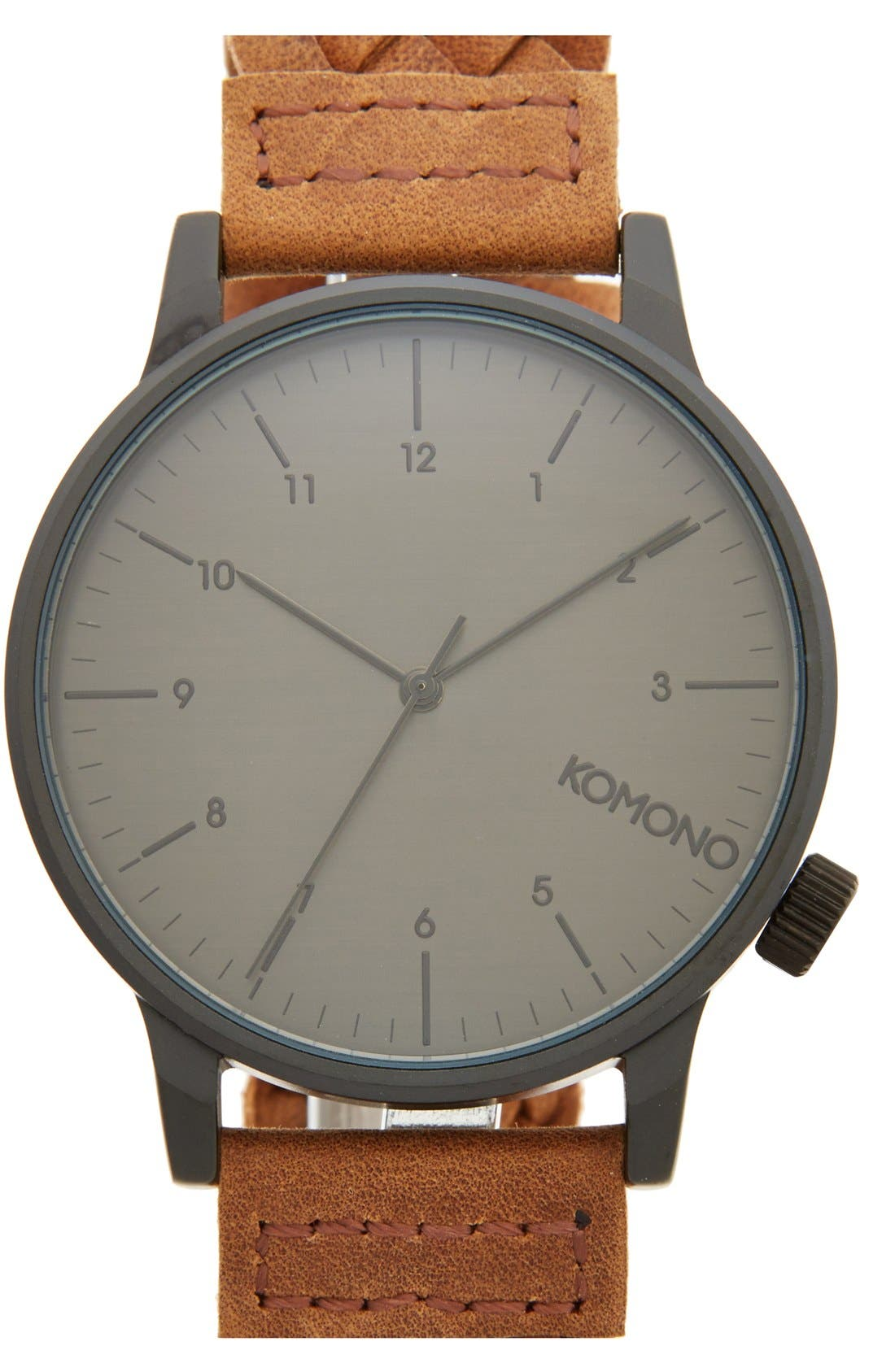 Komono 'Winston' Round Dial Woven Leather Strap Watch, 40mm