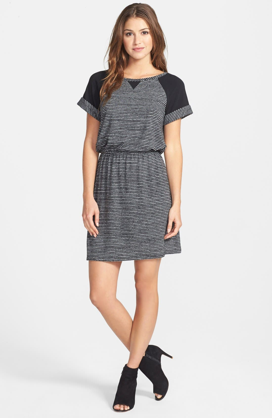 Alternate Image 1 Selected - Caslon® Colorblock Stripe Blouson Dress (Regular & Petite)