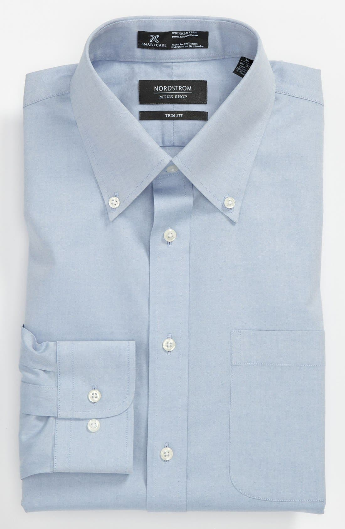 Smartcare<sup>™</sup> Trim Fit Solid Dress Shirt,                             Main thumbnail 1, color,                             Blue