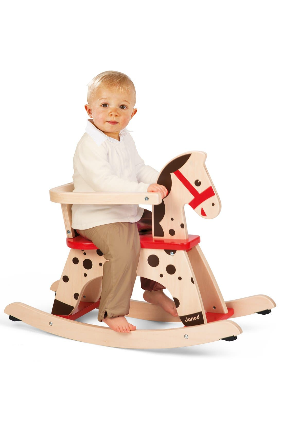 'Caramel' Wood Rocking Horse,                             Alternate thumbnail 3, color,                             Red