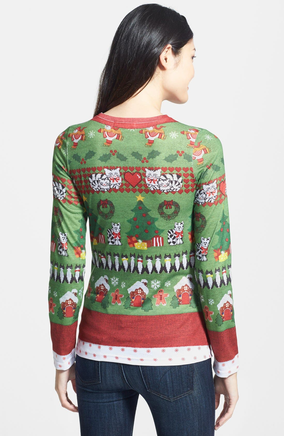 Alternate Image 2  - Faux Real Cats Ugly Christmas Long Sleeve Novelty Tee (Women)