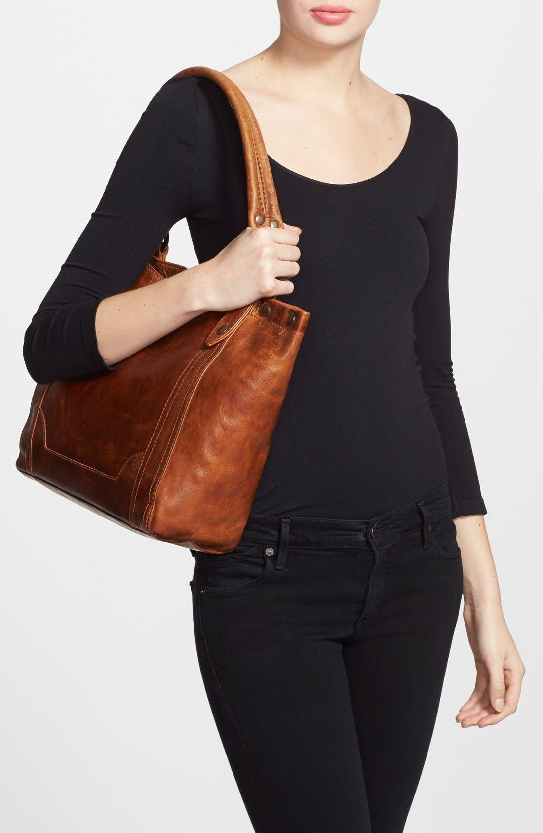 Melissa Leather Shoulder Bag,                             Alternate thumbnail 2, color,                             Cognac