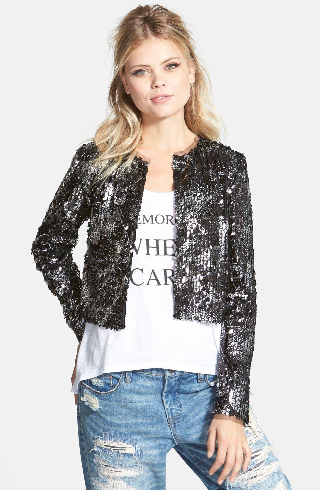 Graffiti Sequin Blazer,                         Main,                         color, Black/ Silver Graffiti Sequins