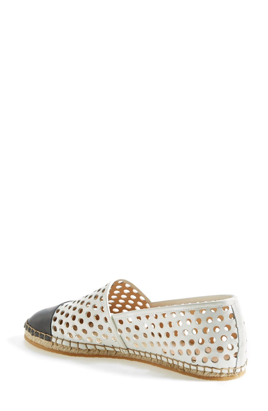 'Mara' Espadrille Flat,                             Alternate thumbnail 2, color,                             White/ Black