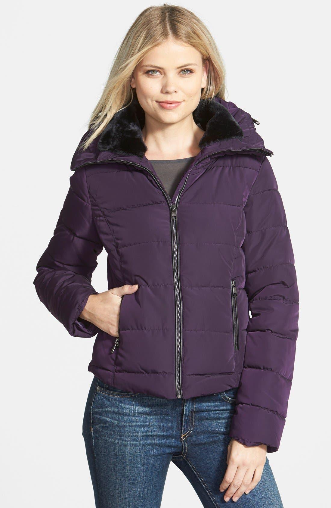 Alternate Image 1 Selected - Steve Madden Faux Fur Collar Puffer Jacket