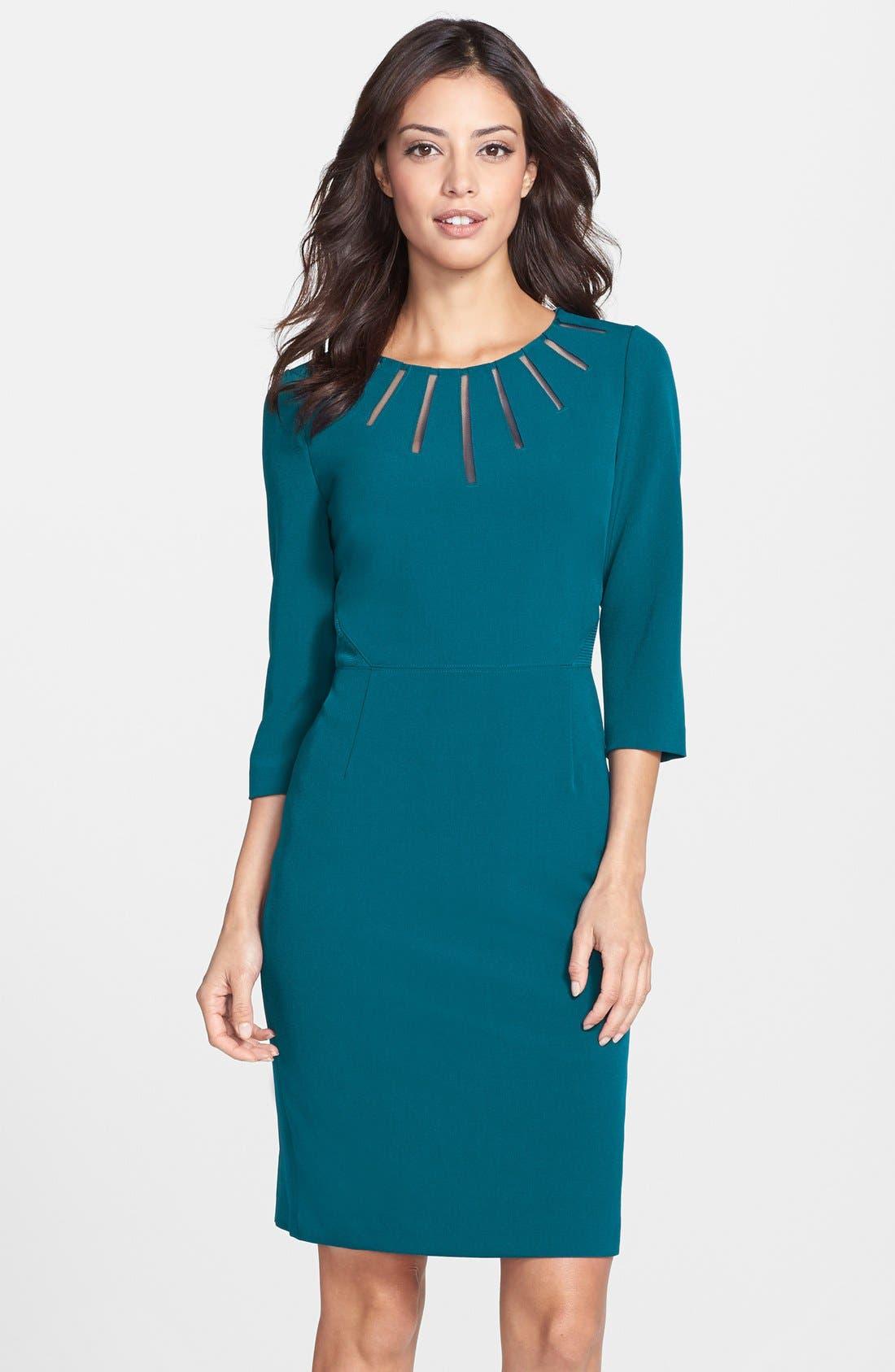Alternate Image 1 Selected - Adrianna Papell Mesh Insert Crepe Sheath Dress (Regular & Petite)