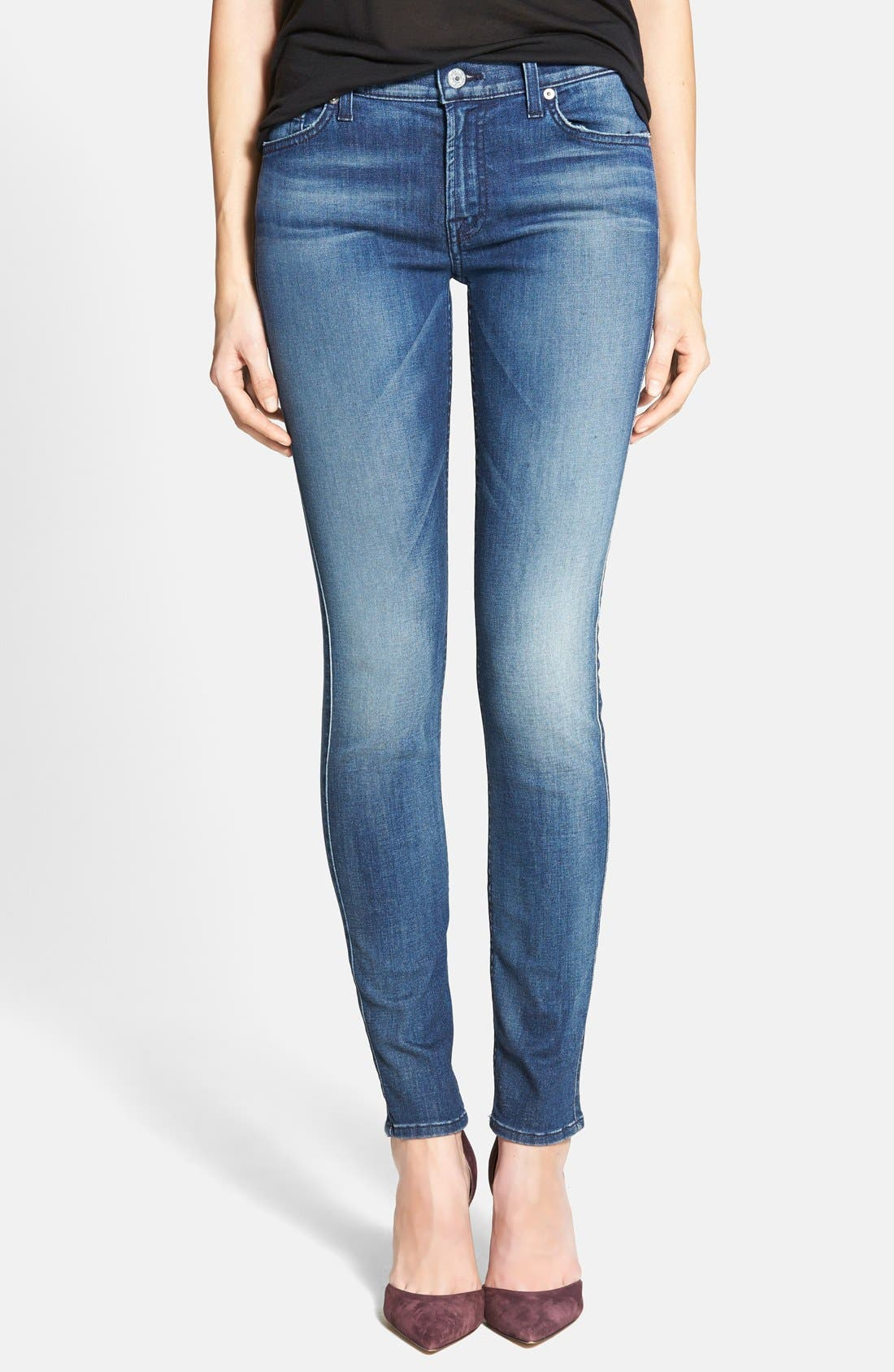 Main Image - 7 For All Mankind® 'The Skinny' Mid Rise Jeans (Summit Blue)