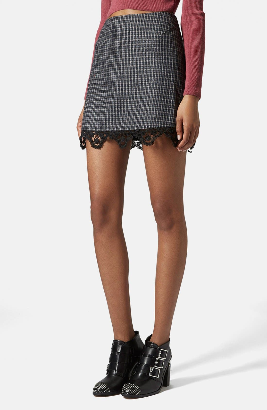 Main Image - Topshop Tweed Lace Miniskirt