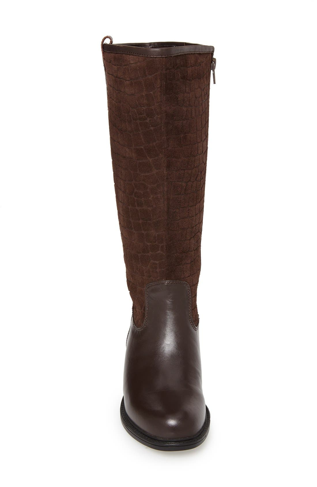 'Best' Calfskin Leather & Suede Boot,                             Alternate thumbnail 3, color,                             Brown Calf/ Suede