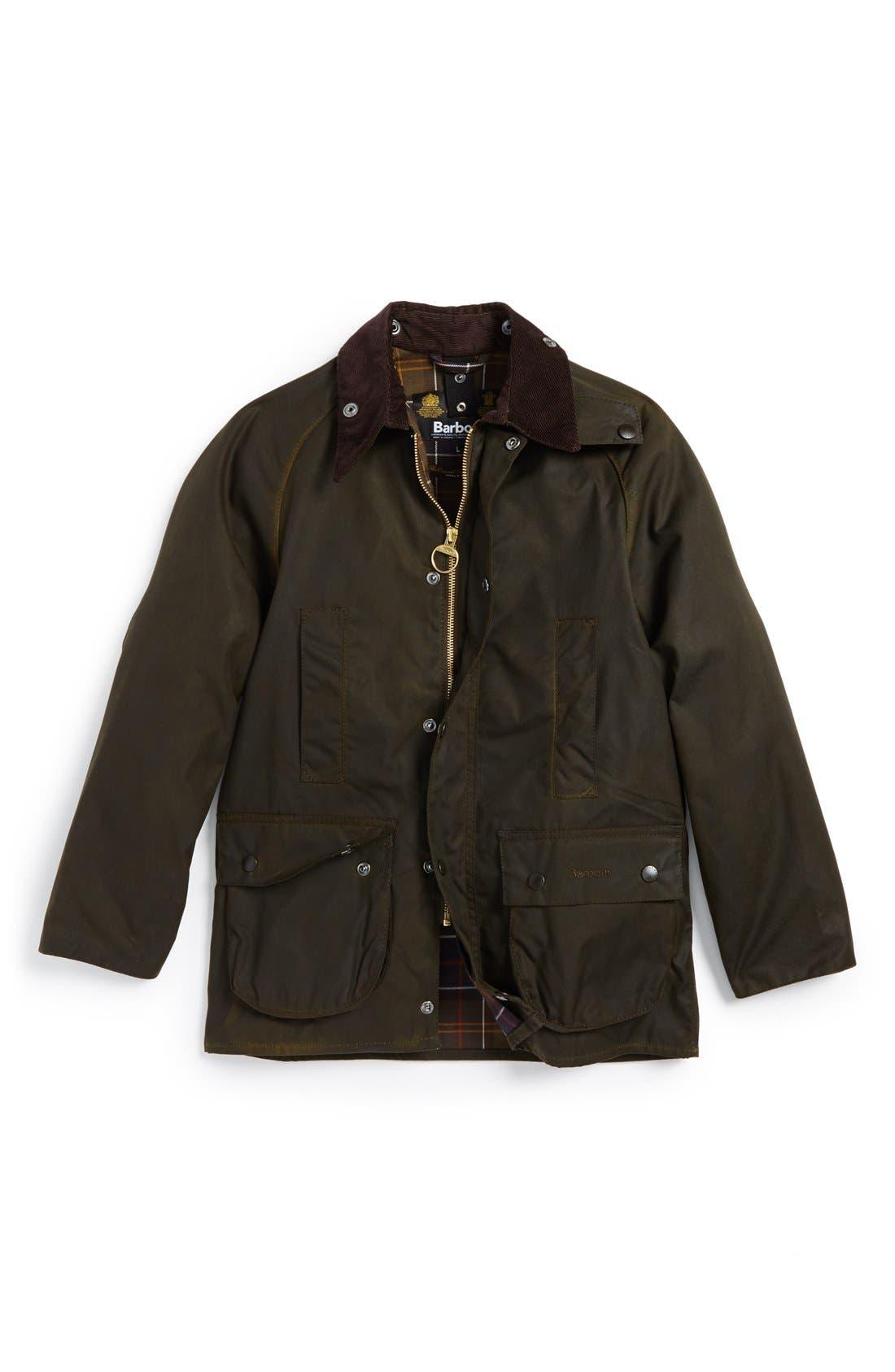 Main Image - Barbour 'Classic Beaufort' Waterproof Waxed Cotton Jacket (Big Boys)