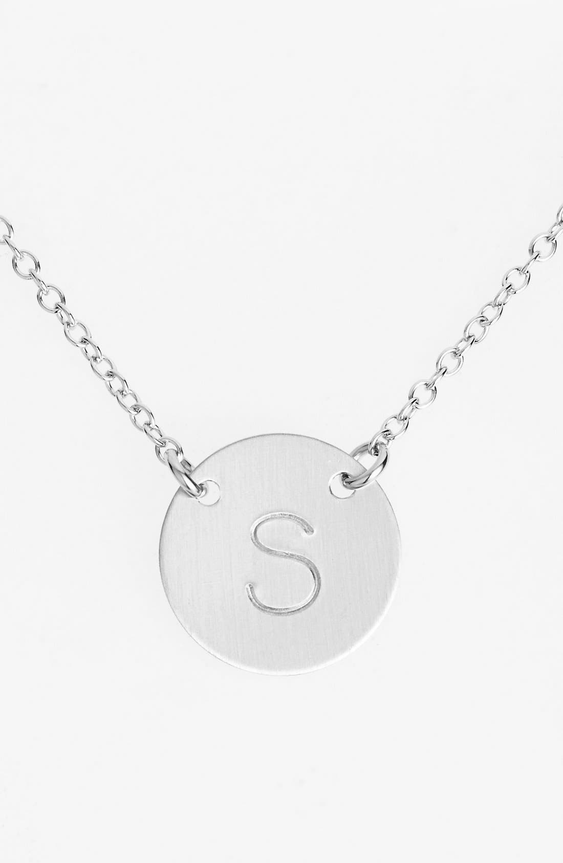 Sterling Silver Initial Disc Necklace,                             Main thumbnail 1, color,                             Sterling Silver S
