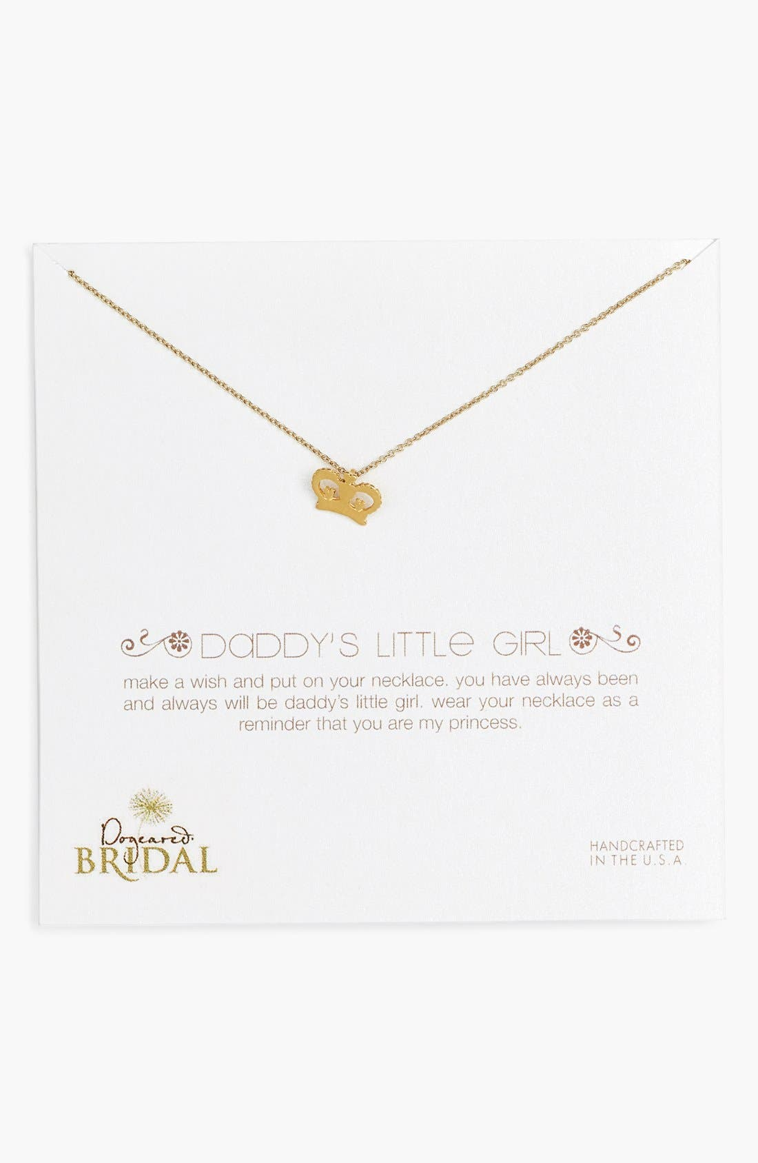 Main Image - Dogeared 'Daddy's Girl - Crown' Pendant Necklace (Nordstrom Exclusive)