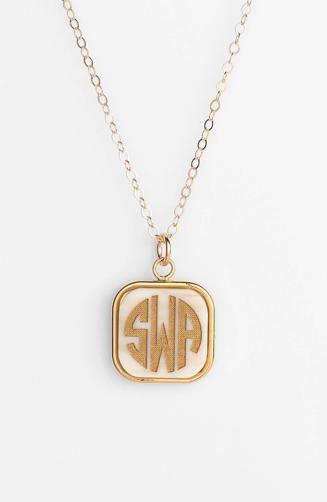 'Vineyard' Personalized Monogram Pendant Necklace,                         Main,                         color, Blonde Tortoise