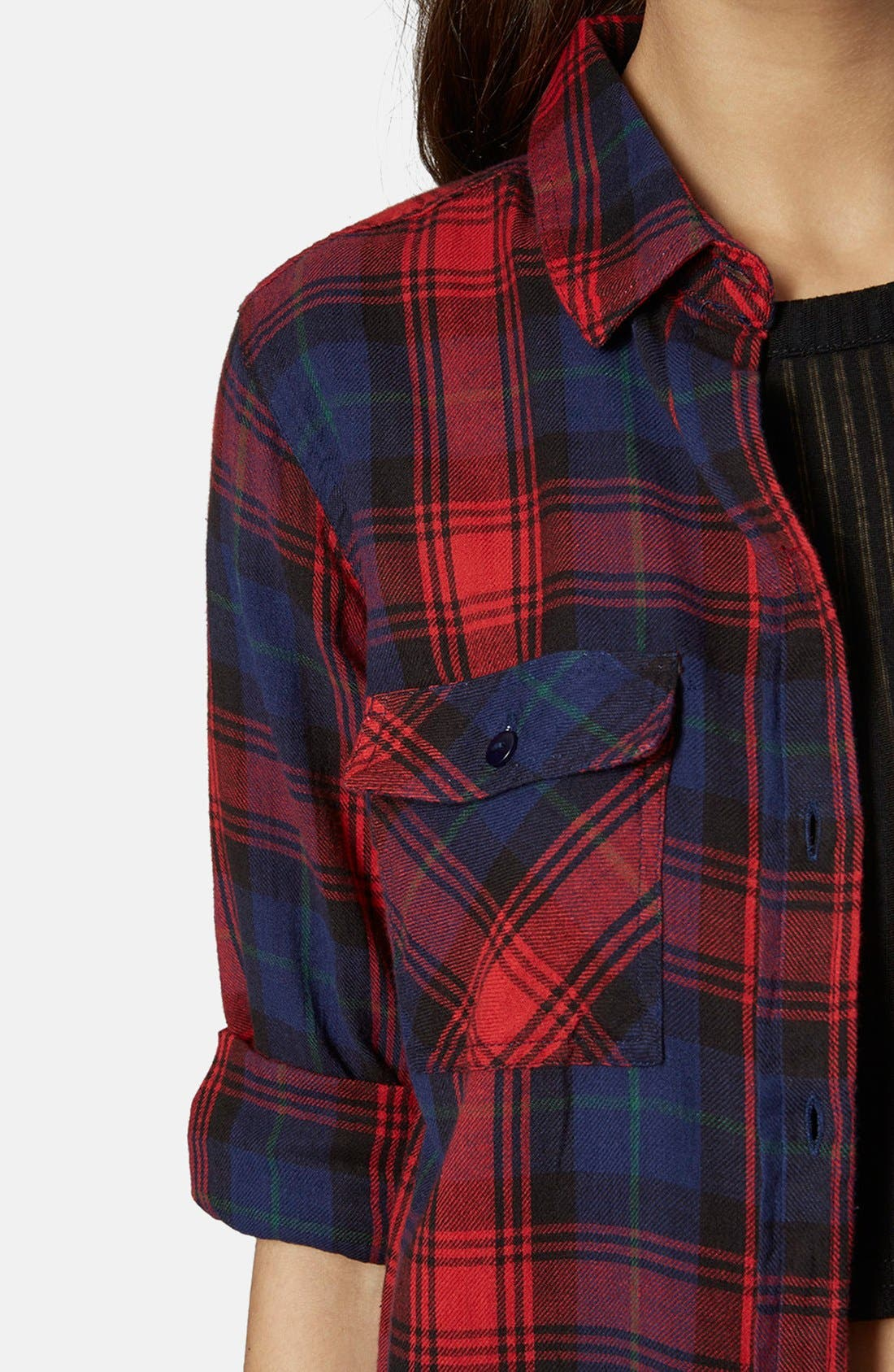 Alternate Image 4  - Topshop 'Izzy' Long Sleeve Check Shirt
