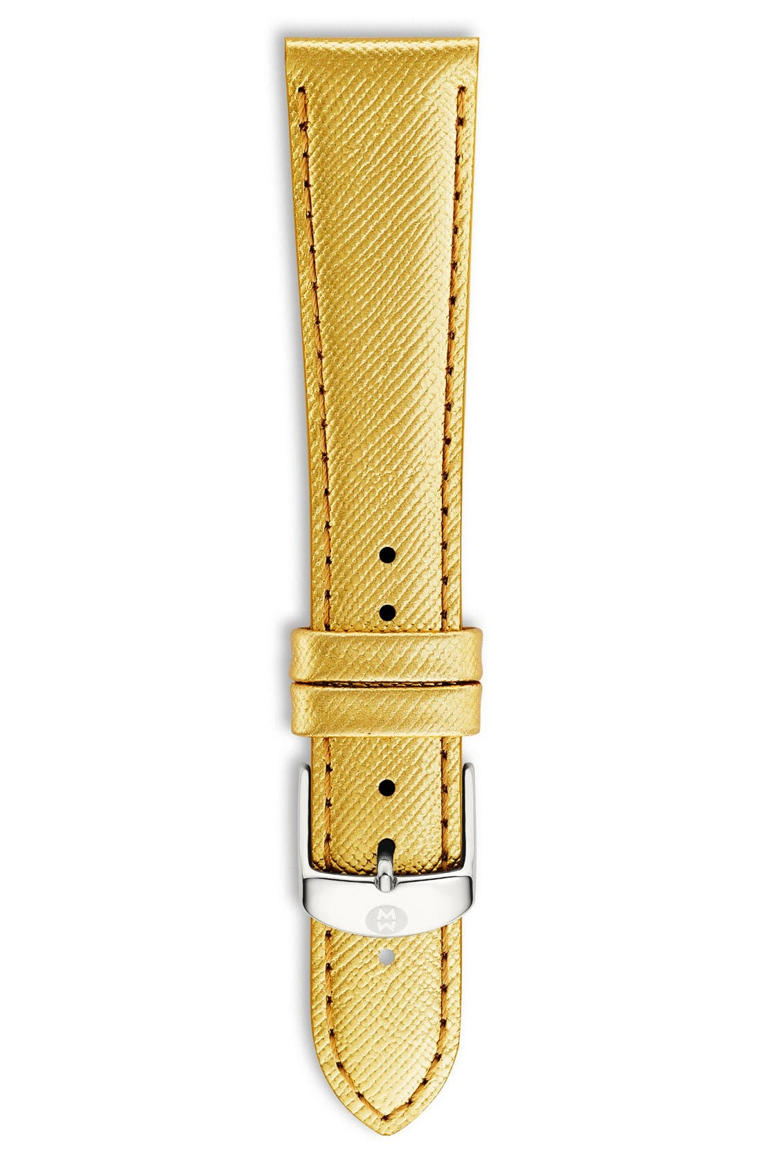 18mm Metallic Leather Watch Strap,                         Main,                         color, Gold