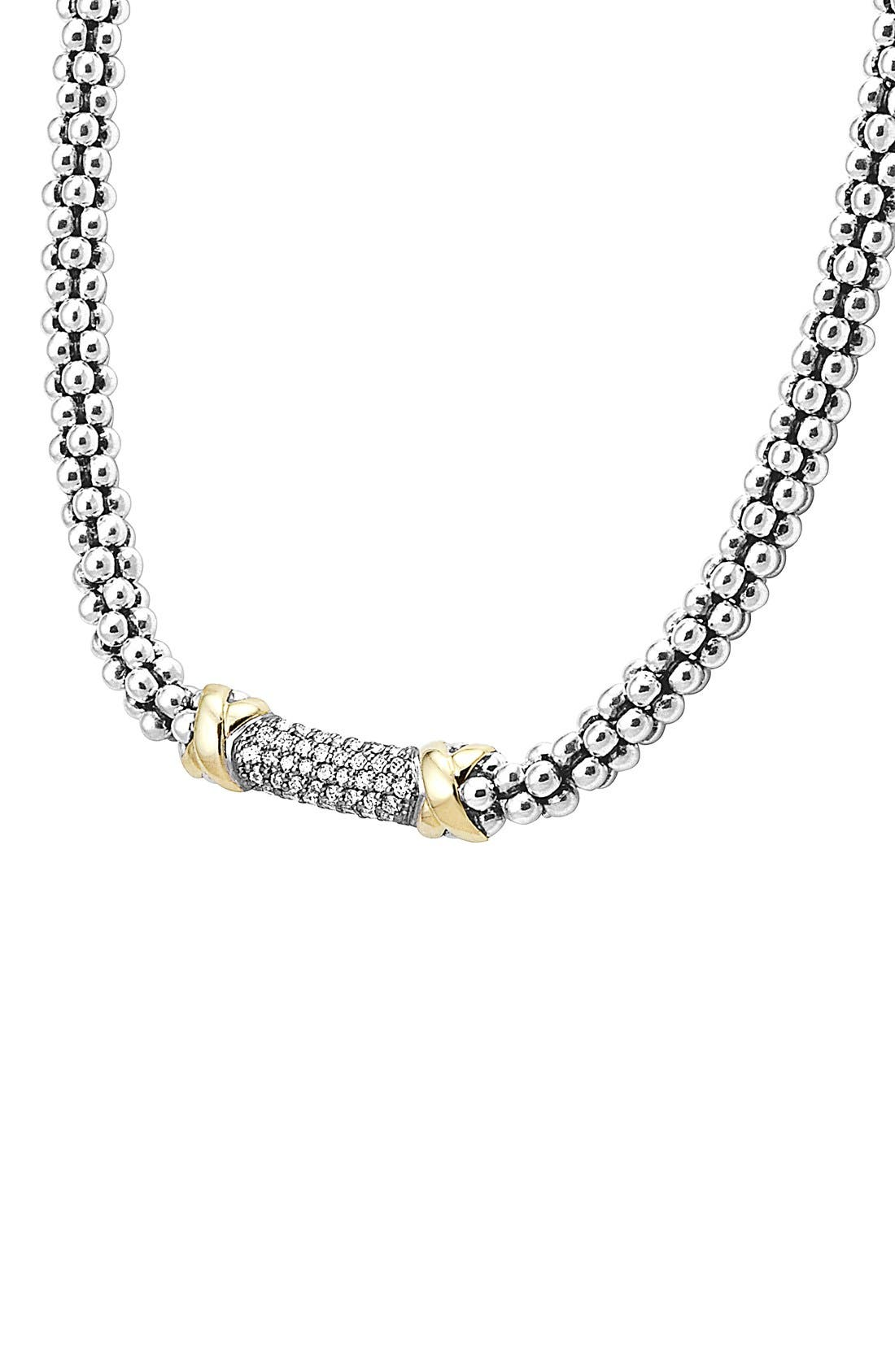 'Diamond Lux' Diamond Rope Necklace,                             Alternate thumbnail 2, color,                             Silver/ Gold