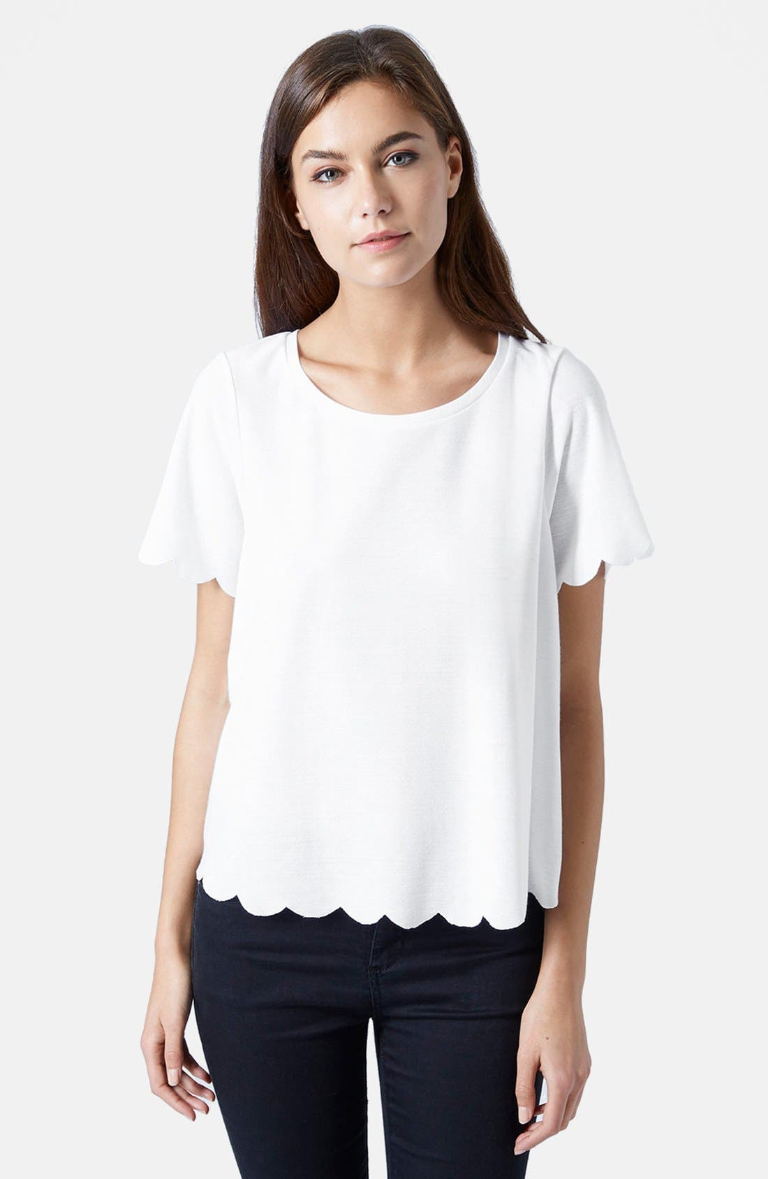 Alternate Image 1 Selected - Topshop Scallop Frill Tee
