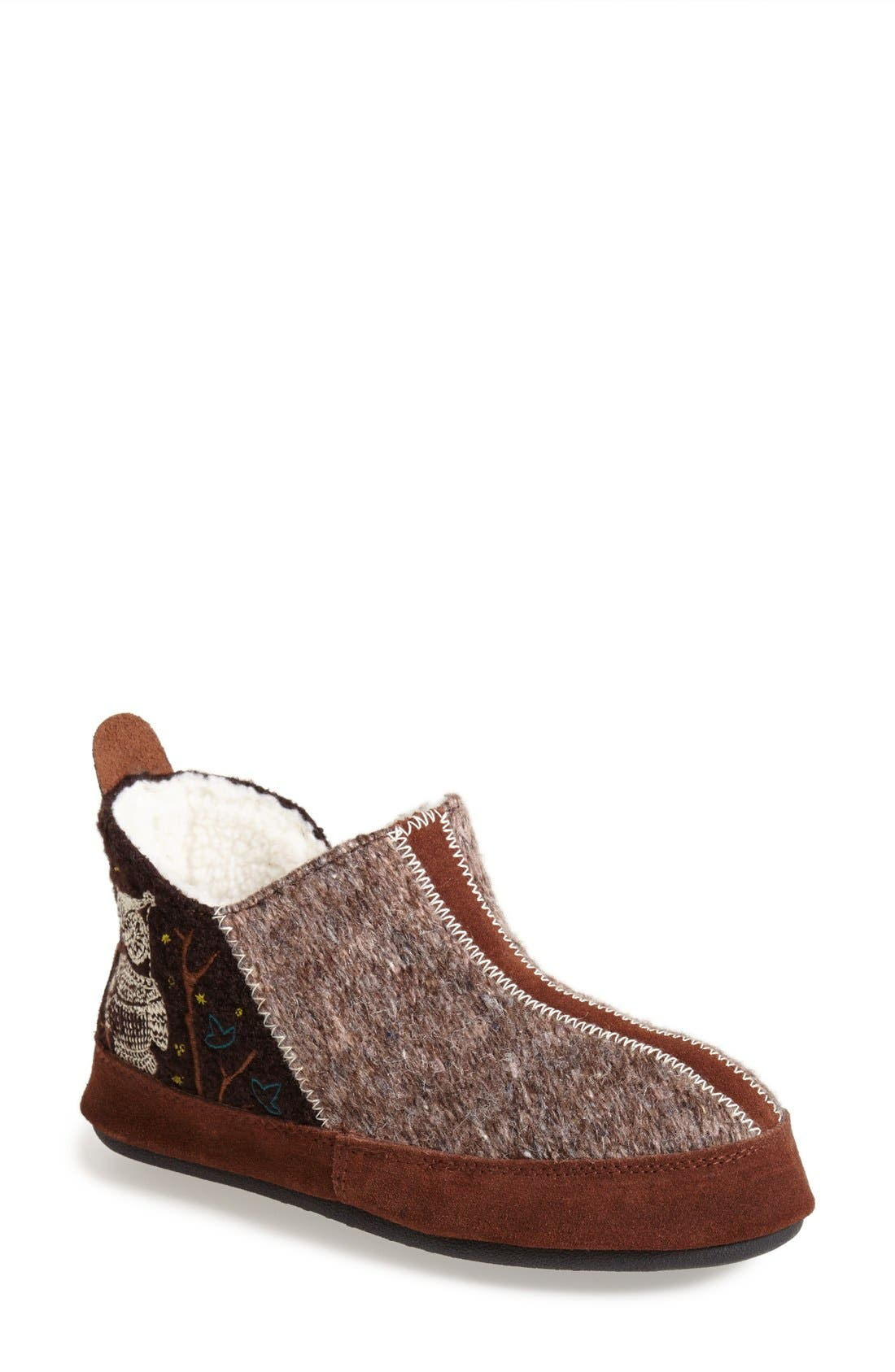 'Forest' Bootie Slipper,                             Main thumbnail 1, color,                             Chocolate