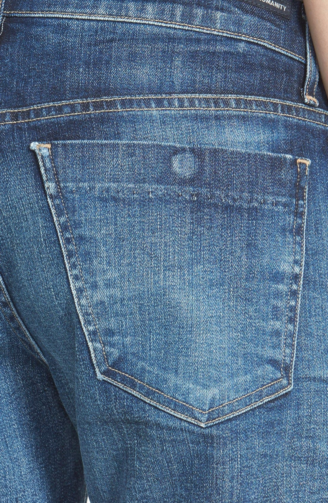 'Skyler' Low Rise Denim Shorts,                             Alternate thumbnail 3, color,                             Blue Ridge