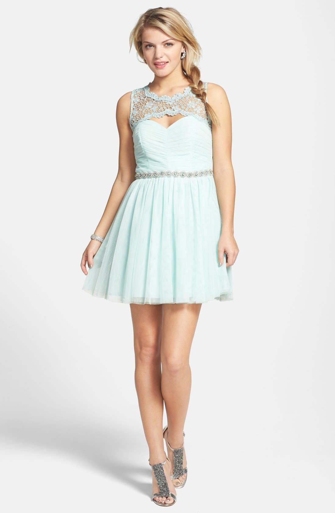 Alternate Image 1 Selected - Sequin Hearts Embellished Dress (Juniors)