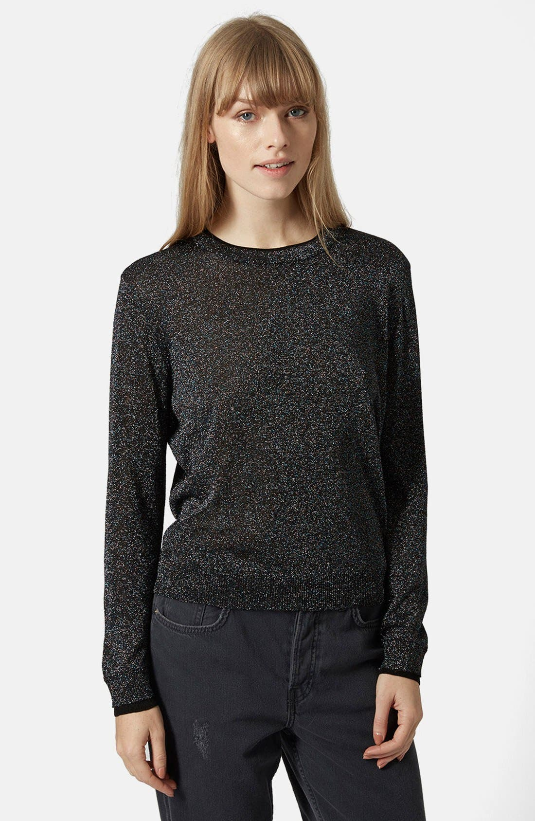 Main Image - Topshop Metallic Fine Gauge Sweater