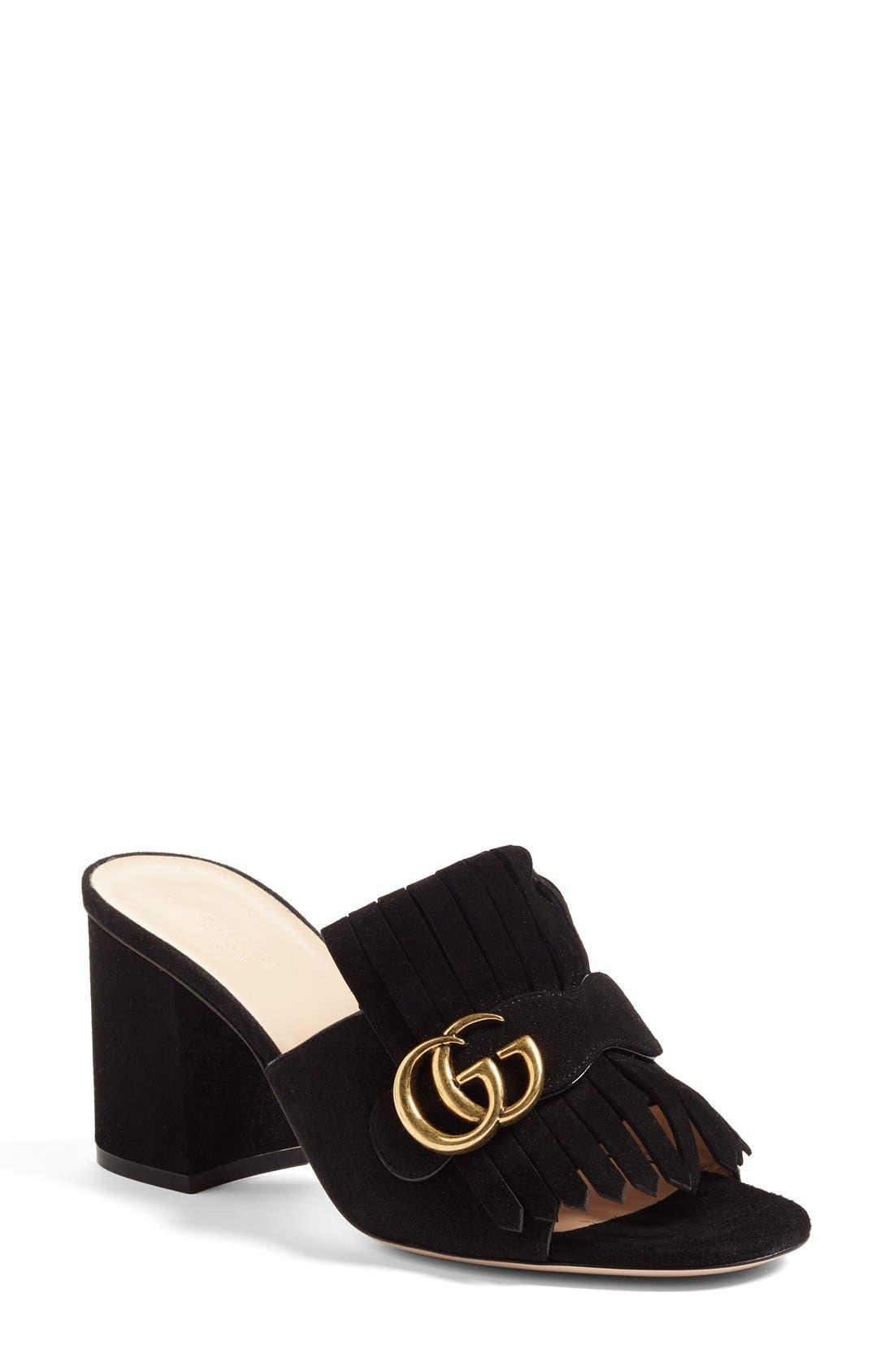 GG Marmont Peep Toe Mule,                         Main,                         color, Black Suede