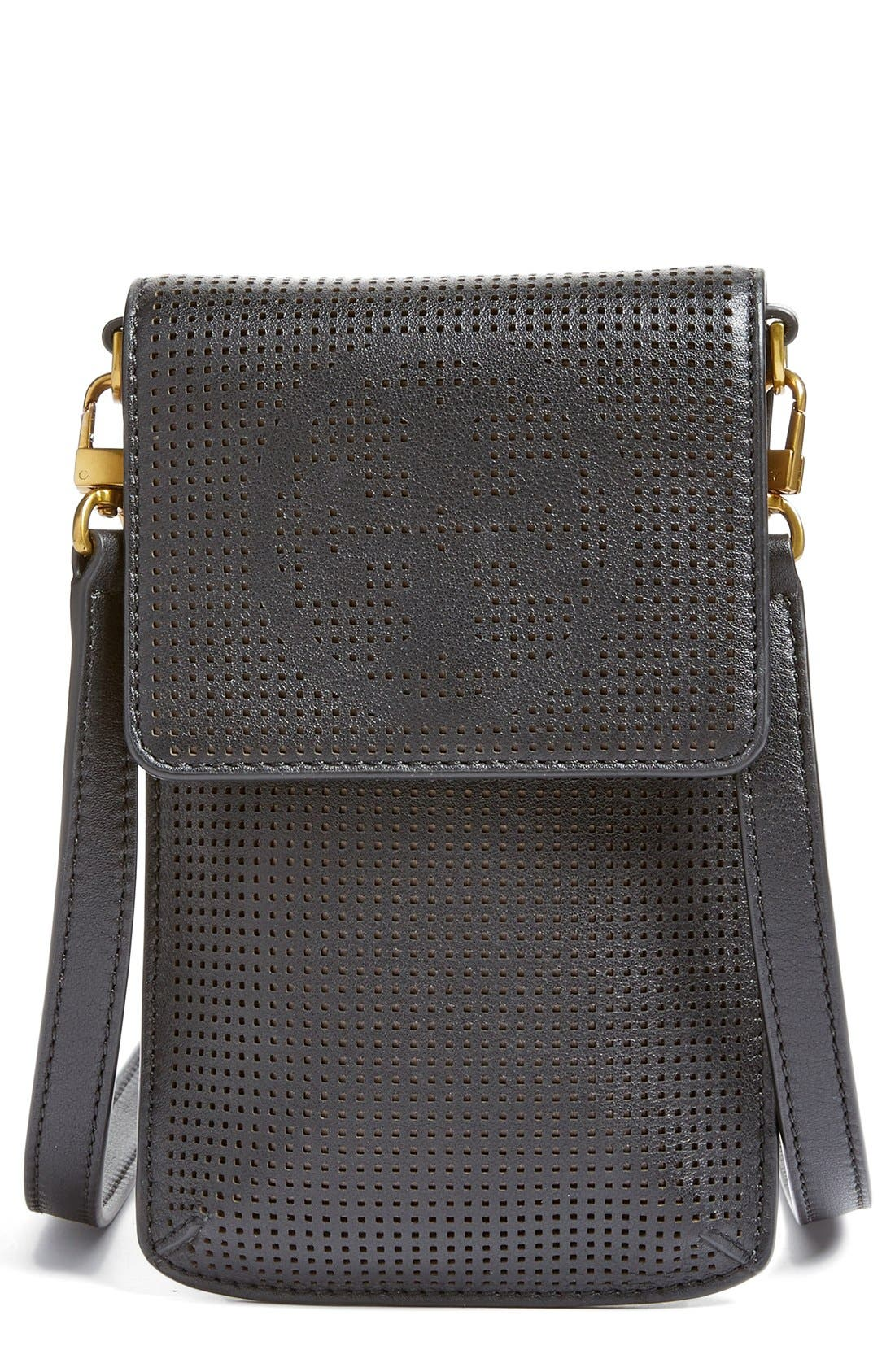 Alternate Image 1 Selected - Tory Burch Perforated Leather Smartphone Crossbody Bag