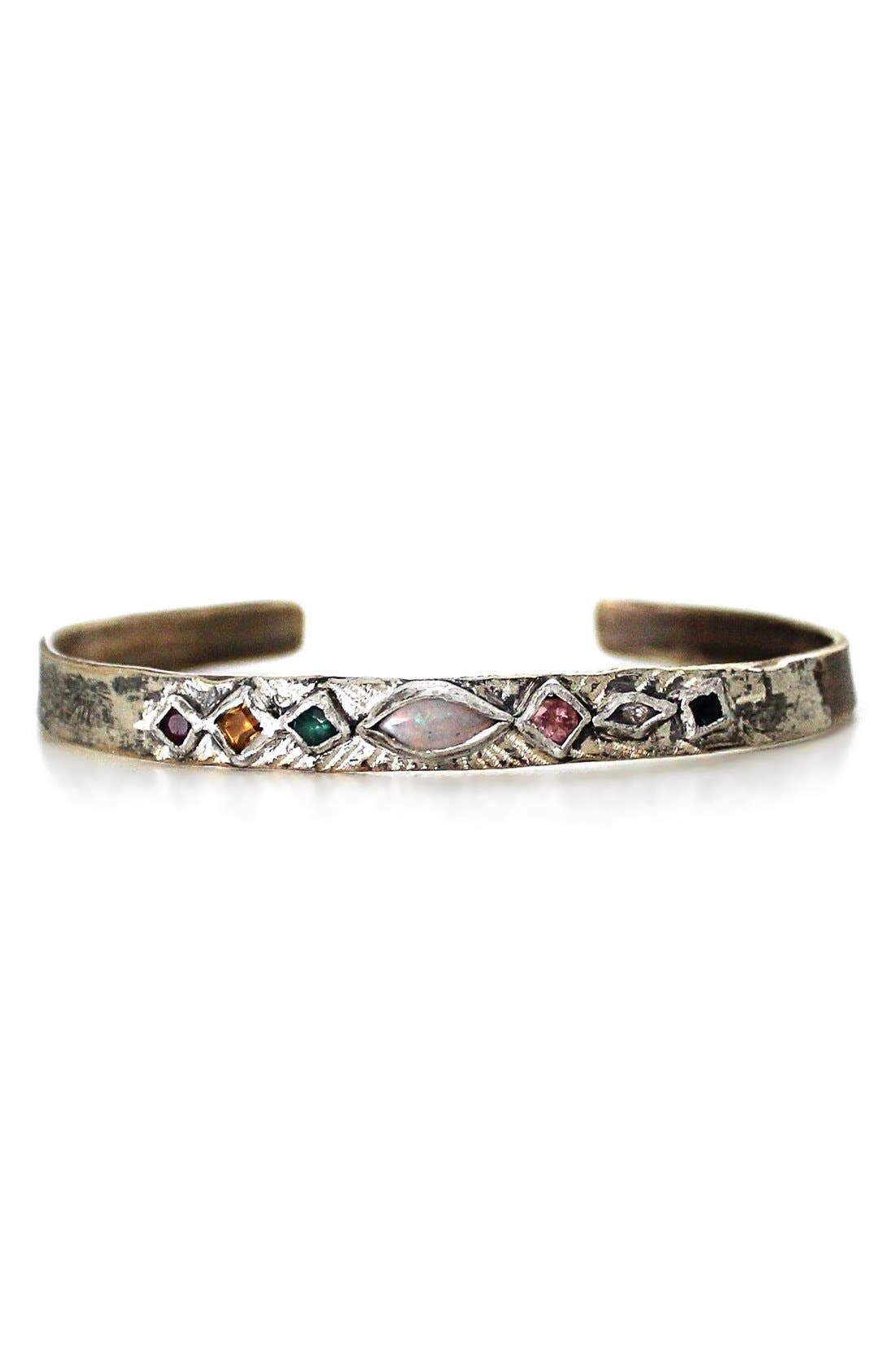 Mixed Gem Cuff Bracelet,                             Main thumbnail 1, color,                             Bronze Multi