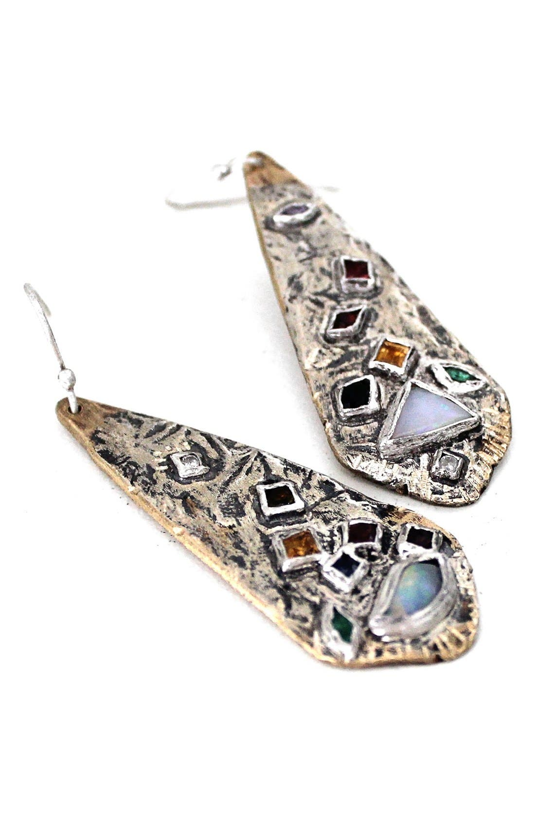 Mixed Gem Statement Earrings,                         Main,                         color, Sterling Silver