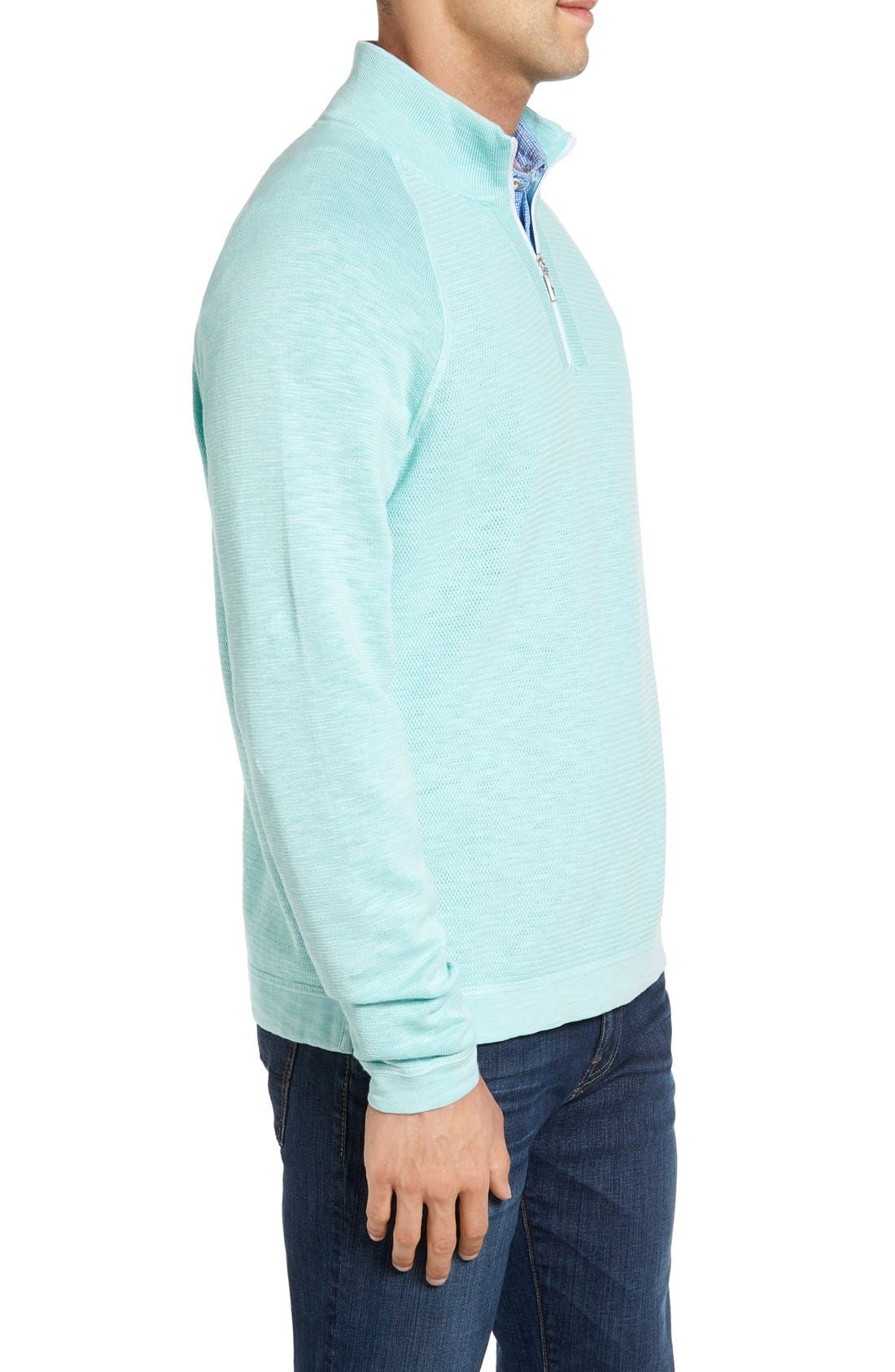 Saltwater Tide Half Zip Pullover,                             Alternate thumbnail 3, color,                             Aquarius