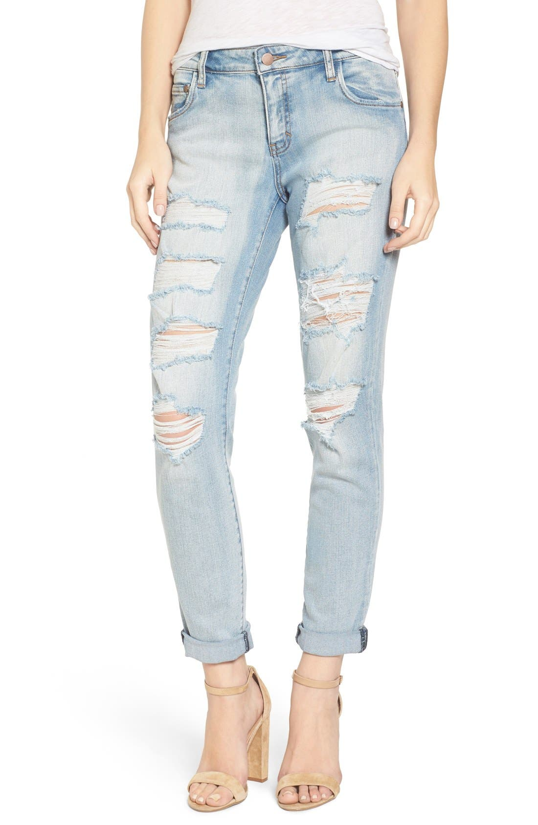 Ripped Skinny Boyfriend Jeans,                             Main thumbnail 1, color,                             Mission Bay