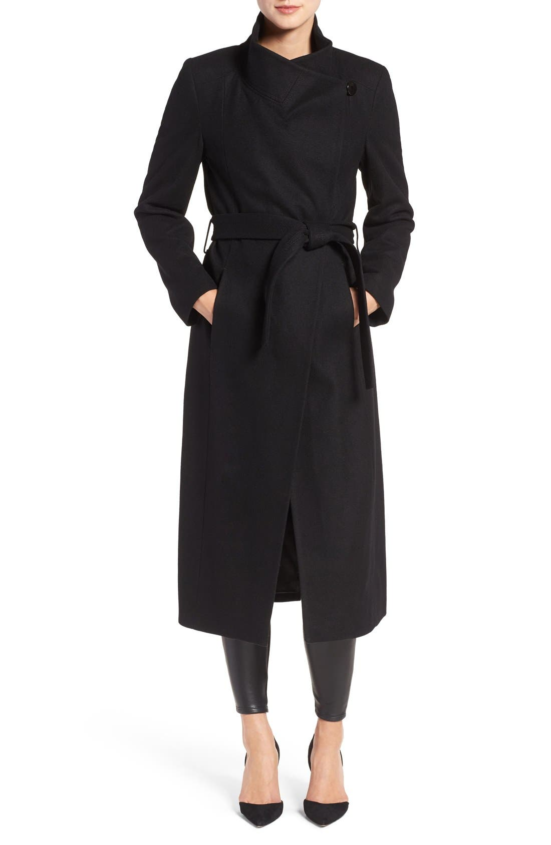 Black wrap tie coat